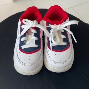 Red white and blue Air Force ones